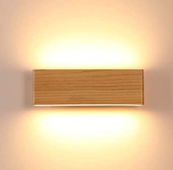 Martll Aplique de pared LED Lámpara de pared Interior Madera Aplique Lámpara de arriba y abajo Iluminación de pared para sala de estar Dormitorio Pasillo Escalera Blanco Cálido Luces (22cm): Amazon.es: Iluminación