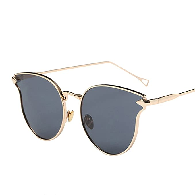 7b7a2259b1d80c ❤️LILICAT Femme Hommes Mode Chat Vintage Métal Cadre Miroir Lunettes de Soleil  Lunettes de Soleil