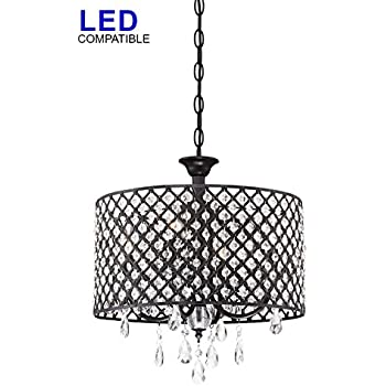 Crystal Chandelier Pendant Light with Crystal Beaded Drum Shade ...
