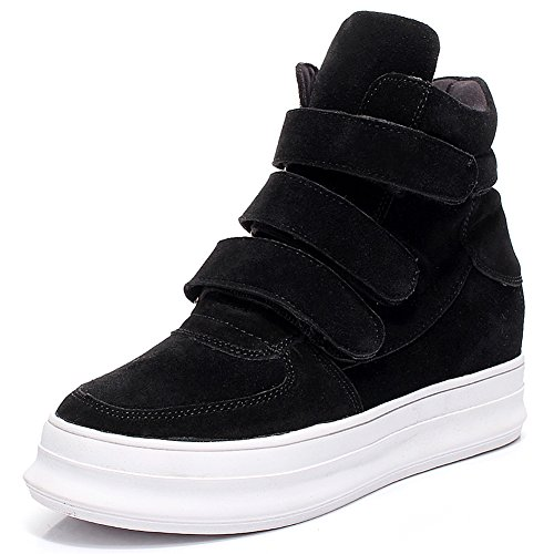 Shenn Mujer Moda Cuña Comodidad Ante Cuero Entrenadores Zapatos 31595 Negro