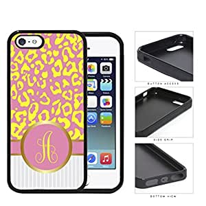 Customized Pink and Yellow Leopard Pattern Animal Print with Gray and White Vertical Stripes on Bottom and Pink and Yellow Round Monogram in Center Outlined in Gold Rubber Silicone TPU Cell Phone Case Apple iPhone 5 5s by Maris's Diary