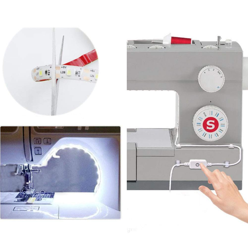 enchufe de la UE EU Plug blanco blanco fr/ío 6500 K con regulador t/áctil y alimentaci/ón USB para todas las m/áquinas de coser Tira de luces LED para m/áquina de coser JK