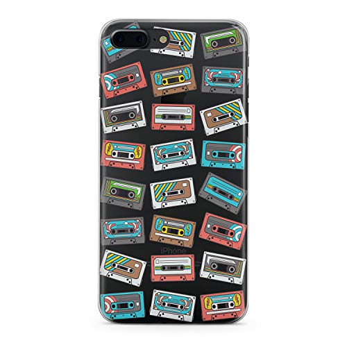 Lex Altern TPU iPhone Case X 10 Max Xr Xs 8 Plus 7 6s 6 SE 5s 5 Clear Apple Watercolor Phone Cover 80s Audio Cassette Pattern Gentle Retro Pretty -
