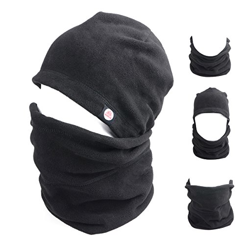 Fleece Ski Hat (Triwonder Balaclava Hood Hat Thermal Fleece Face Mask Neck Warmer Full Face Cover Cap Winter Ski Mask (Black - New Version))
