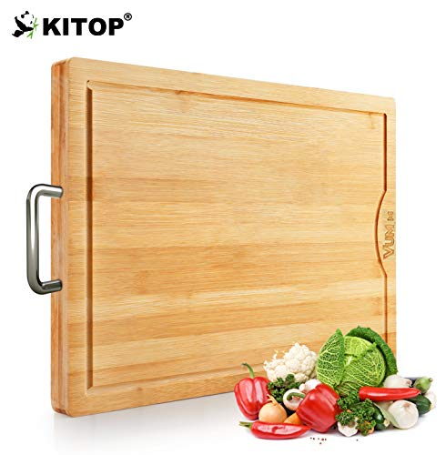 Large & Extra-Thick Bamboo Cutting Boards For Kitchen with Juice Groove-VUMM Organic Heavy Duty Chopping Board for Meat/Vegetables Fruits Serving Tray, Butcher Block, Carving Board, BPA Free (Bamboo Board Chopping)