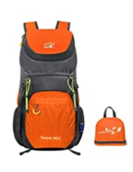 Gigantique 40L Outdoor Hiking Waterproof Portable Folding Backpack Handy Lightweight Travel Climbing Camping Mountaineering Daypack Orange