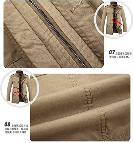 Uomo khaki Yyzyy Camicia Giacca N5086 wYR7TZq