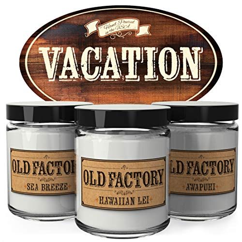 Old Factory Scented Candles - Vacation - Set of 3: Sea Breeze, Hawaiian Lei, and Awapuhi - 3 x 4-Ounce Soy Candles - Perfect Valentines Day Gift for Her