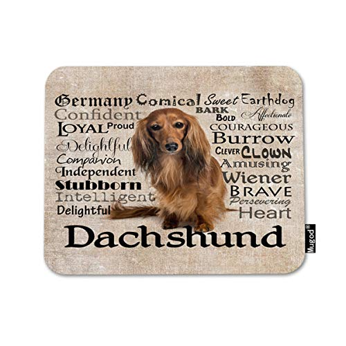 Mugod Mousepad Brown Long Dachshund Hair Dog Pet Animal Breed Print Anti-Slip Natural Rubber Gaming Mouse Pad Rectangle Mouse Pads for Computers Laptop 7.9x9.5 Inches