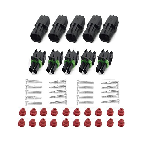 (HIFROM 5 Kit of 2 Pin Way Waterproof Electrical Connector 1.5mm Series Terminals Heat Shrink Quick Locking Wire Harness Sockets 20-14 AWG)