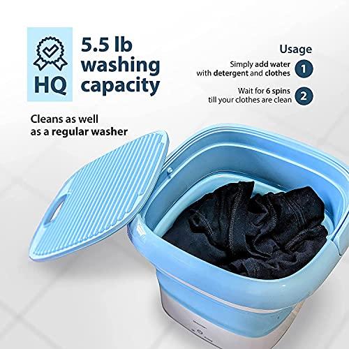 Deoxys Portable Washing Machine, Mini Foldable Washing Machine with Handle,Ozone Sterilization,Ultrasonic Cleaning Machine, Small Automatic Underwear Folding Washing Machine Laundry Capacity 515bGVwJVvS India 2021