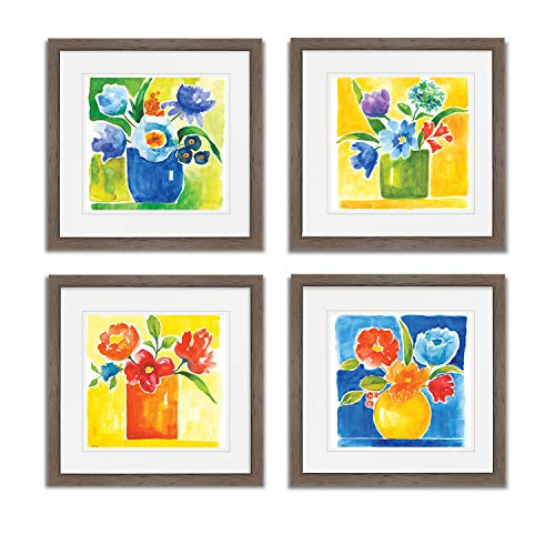 WEXFORD HOME Sunny Day Bouquet Spring Collection Flower Print 4 Panels Set Framed Décor for Home Office Wall Art, 20X20, Burly Wood