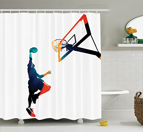 Sports Decor Collection Polyester Fabric Bathroom Shower Curtain, 75 Inches Long, Teal Blue Orange Red