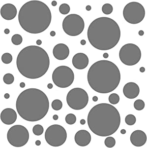 Set of 100 (Grey) Vinyl Wall Decals - Assorted Polka Dots Stickers - Removable Adhesive Safe on Smooth or Textured Walls - Round Circles - for Nursery, Kids Room, Bathroom Decor