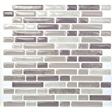 Tic Tac Tile®-High Quality Anti-mold Peel and Stick Wall Tile in Random Brick Grey (10)