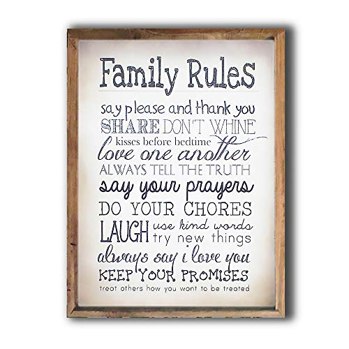 MODE HOME Family Rules 15 x 18 Inch Vintage Framed Wooden Wall Signs For Home ()