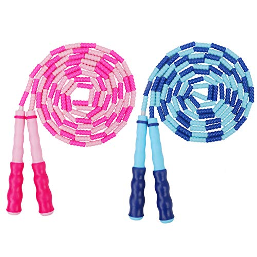 2 Pack Kids Jump Rope, Soft Beaded Skipping Rope for Girls Boys, Kids Fitness Equipment, Adjustable Tangle-Free Workout…