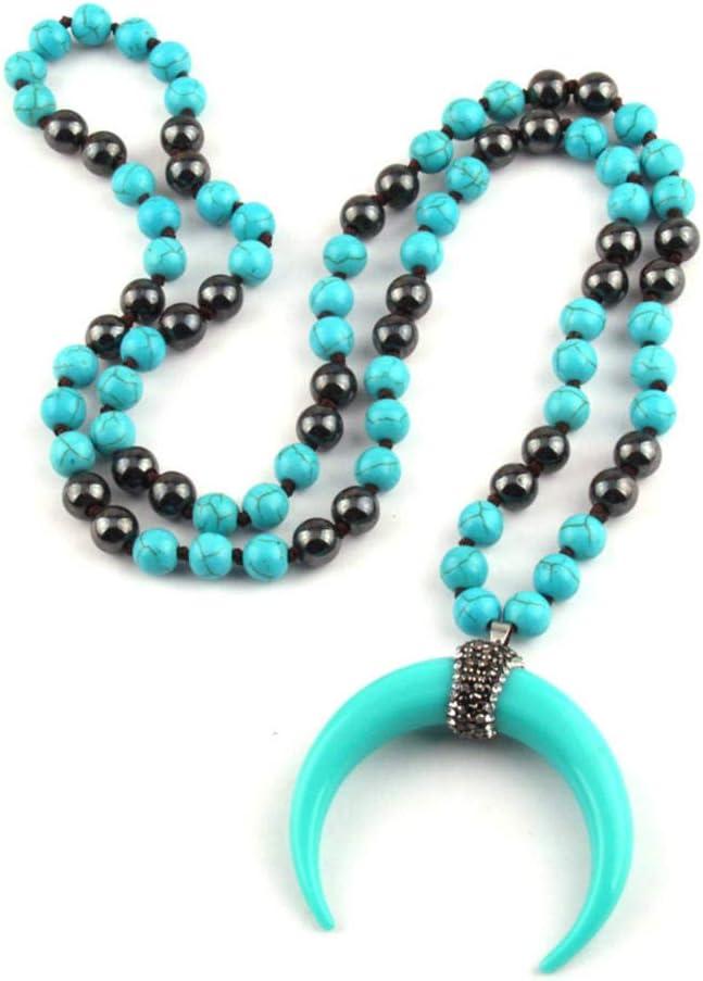 NFRADFM Collar con Colgante de Cuerno de hematita Anudado de Piedra semipreciosa Turquesa Collar de Mujer