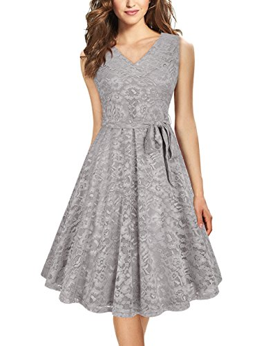 Furnex Cocktail Dress, Women's Homecoming Dresses Elegant A Line V Neck Floral Sleeveless Knee Length Swing Lace Dress(Grey,Medium)