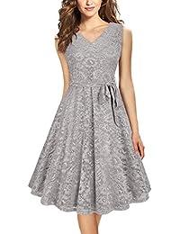 Women's Elegant A Line V Neck Floral Sleeveless Knee Length Swing Lace Dress