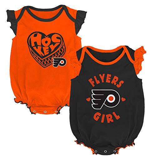 - Outerstuff NHL Newborn Infants Hockey Girl 2 Piece Creeper Bodysuit Set (6/9 Months, Philadelphia Flyers)