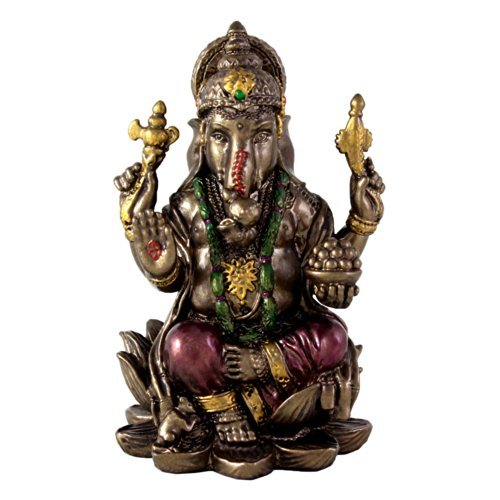 "Top Collection Small 3"" Ganesh (Ganesha) Hindu Elephant God of Success. Good Protection. Bronze Powder Mixed with Resin -  Bronze Finish with Color Accents."
