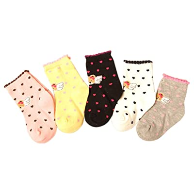 5 Pair Lovely Angel Baby Toddler Cotton Socks Age 25-36 Months/Random Color