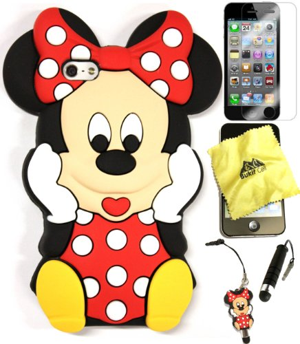Bukit Cell 3D Case Bundle : RED 3D Cute Minnie Mouse Silicone Case for IPHONE SE 5S + BUKIT CELLCloth + Minnie Stylus Touch Pen + Screen Protector + METALLIC Stylus Touch Pen