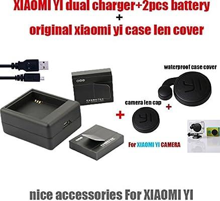 Batería yi Xiaomi MU 2pcs + cargador USB dual + caja estanca yi Xiaomi originales len cubierta de la tapa para los accesorios yi acción Xiaomi: Amazon.es: Electrónica