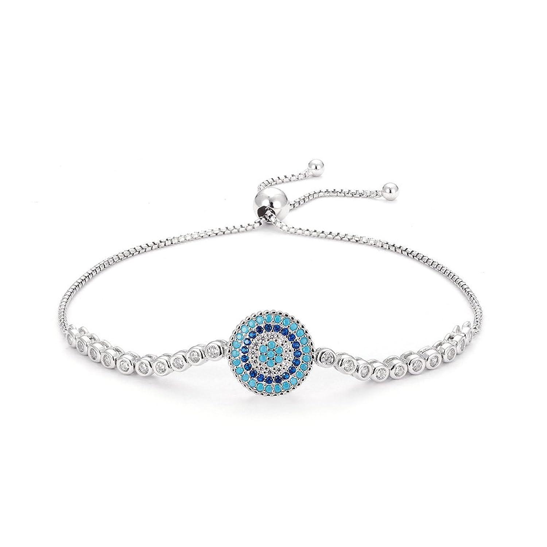 Kaletine Blue Evil Eye Bracelets Sterling Silver 925 Cubic Zirconia CZ Adjustable Tennis Anchor Chain 10 J6tfldU