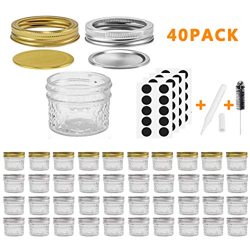Mason Jars Canning Jars, 4 OZ Jelly Jars With Regular Lids and Bands, Ideal for Jam, Honey, Wedding Favors, Shower Favors, Baby Foods, DIY Magnetic Spice Jars, 40 PACK By SPANLA]()
