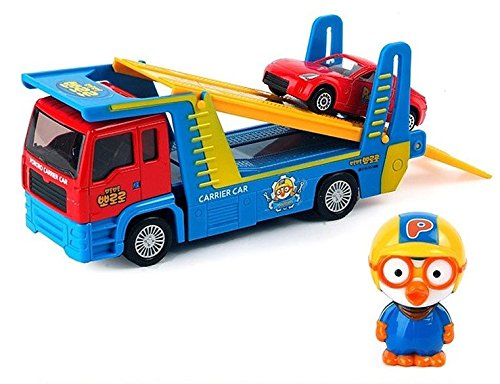 Pororo Truck Trailer + Mini Car Toy Set Full Back Gear Transport / Korea TV Animation Children's Gifts Car - Sky Ride On Fire Truck