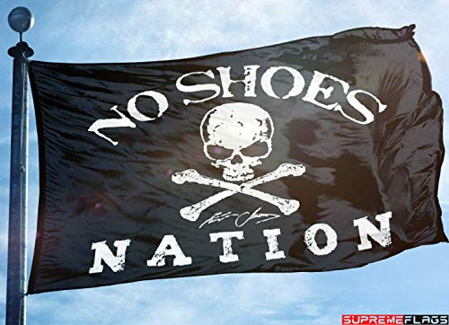 No Shoes Nation Flag Banner 3x5 Kenny Chesney Garage Black Skull Bone Signature
