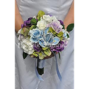 Gorgeous Artificial Fresh Touch Rose and Iris Bridesmaid Bouquet with Hydrangea 2