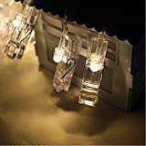 B1ST LED Photo Clip String Lights 9.8ft 3M 30 Clips Lights Battery Powered Rope Lighting Wedding Party Christmas Home Decor strand Light for Pictures Notes Artwork LED Decor (3M Warm White)