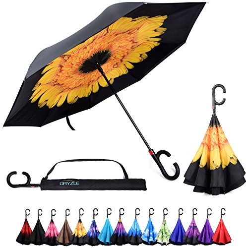 59153ab1d Dryzle Reverse Inverted Auto Open Umbrella by Upside Down Windproof  Umbrellas for Women and Men (15 Designs) - Buy Online in UAE. | Misc.