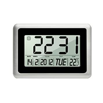 heqiao slim large lcd digital alarm clock day date digital calendar day clock large digital wall