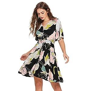 c65a43b959 Milumia Women s Boho Button Up Split Floral Print Flowy Party Dress ...