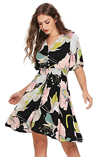 Milumia Women's Boho Button Up Split Floral Print Flowy Party Dress X-Large Multicolor-3