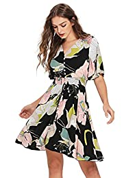 Women's Boho Button Up Split Floral Print Flowy Party Dress