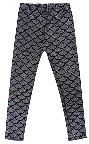 (Simplicity Girls Mermaid Fish Scale Print Full Length Leggings Pants, Multi,)