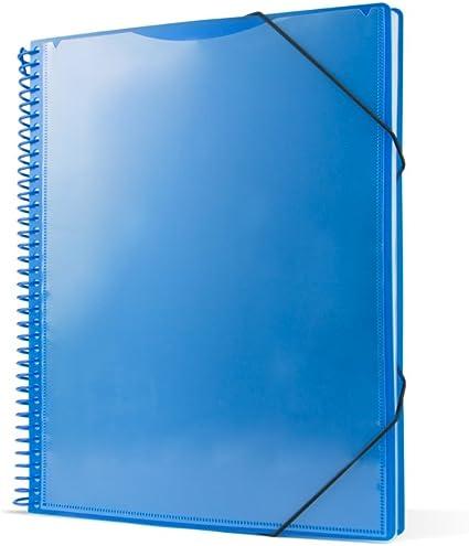 Pryse 4240052 - Carpeta espiral con 50 fundas, A4, color azul: Amazon.es: Oficina y papelería