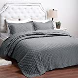 "Quilt Set Solid Grey Full/Queen Diamond Pattern Lightweight Hypoallergenic Microfiber ""Dominique"" by Bedsure"