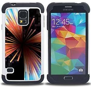"Hypernova Híbrido Heavy Duty armadura cubierta silicona prueba golpes Funda caso resistente Para SAMSUNG Galaxy S5 V / i9600 / SM-G900 [Líneas Extracto de cristal Negro Hole""]"