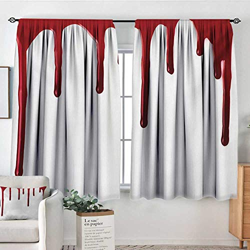 All of better Horror Room Darkening Curtains Flowing Blood Horror Spooky Halloween Zombie Crime Scary Help me Themed Illustration Kid Blackout Curtains 55