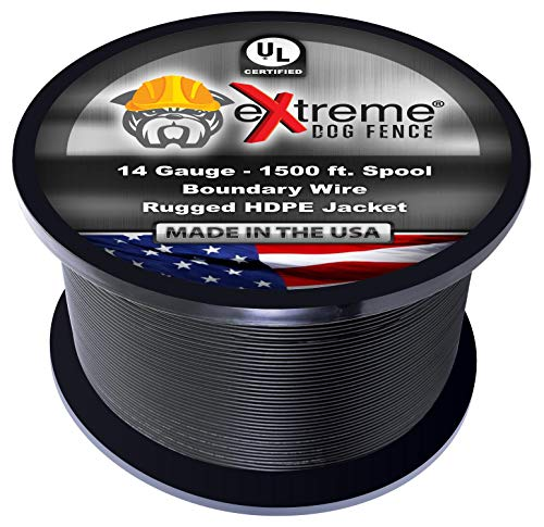 Dog Fence Wire Pure Copper - 1500 Feet of 14 Gauge .044 Professional Grade Electric Dog Fence Boundary Wire - Solid Copper Core Weatherproof Insulation and Compatible with All Underground Dog Fences ()