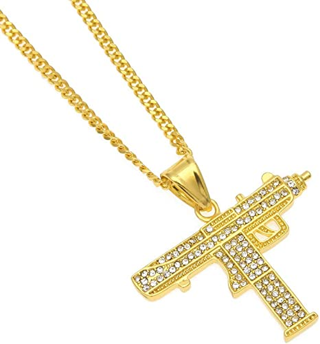 UZI GUN Necklace /& Pendant Gift for Men Hip Hop Jewelry Stainless Steel