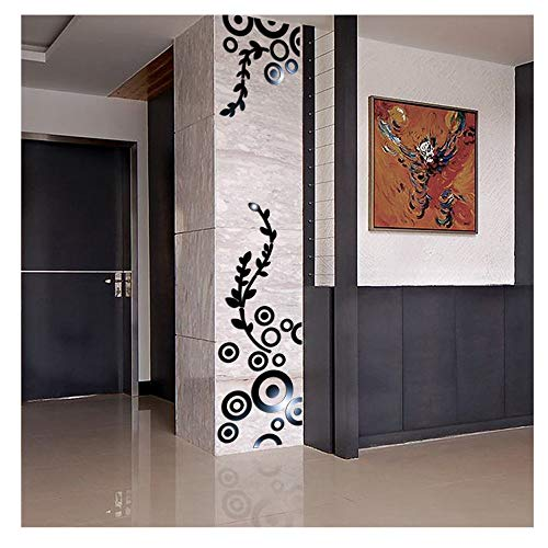 Wall Sticker Home Decor, 3D Creative Circle Ring Acrylic Mirror Wall Stickers Decals Mural Art Room Decoration (Black, as Shown)