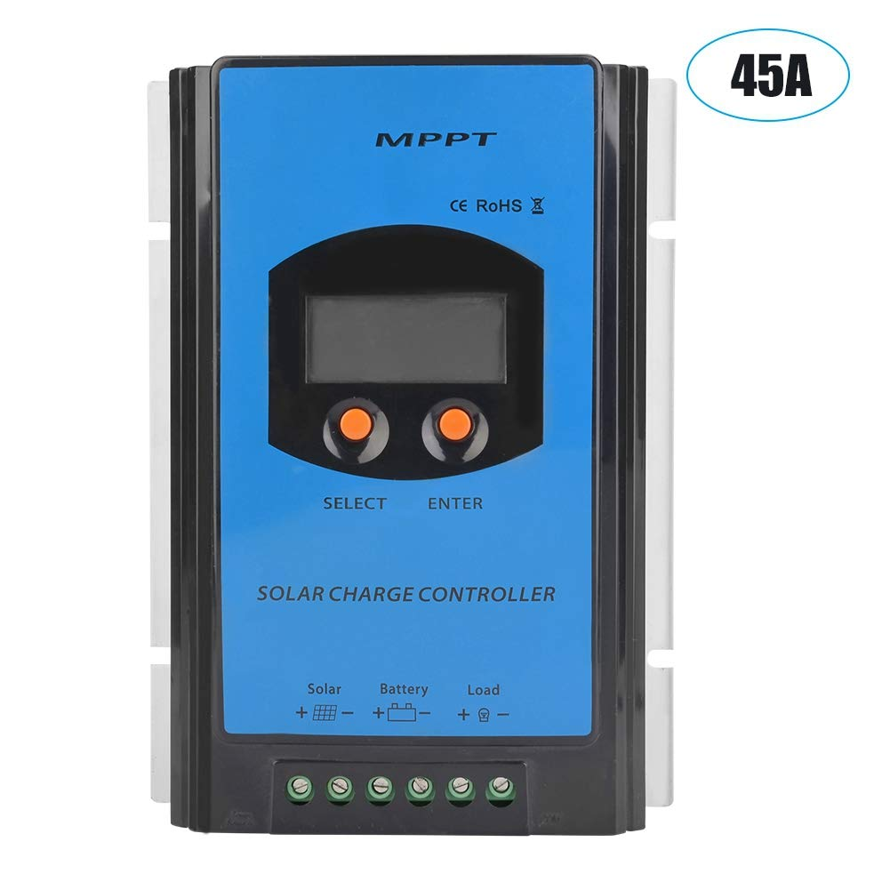 Acouto 12V/24V/48V Solar Charge Controller, Waterproof Solar Panel Battery Intelligent Regulator LCD Display Overload Protection Temperature Compensation (45A)