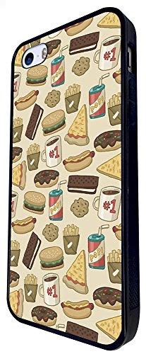 1529 - Cool Fun Trendy Cute Kawaii Collage Burger Pizza Pop Cola Junk Food Bourbon Cookies Design iphone SE - 2016 Coque Fashion Trend Case Coque Protection Cover plastique et métal - Noir